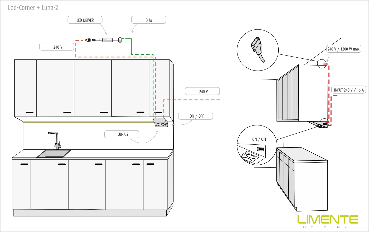 LIMENTE LUNA-2 wall socket incl. switch, white