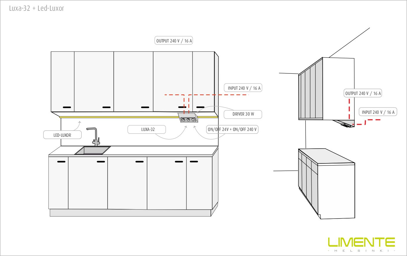 LIMENTE LUXA-32 S/S socket with switch