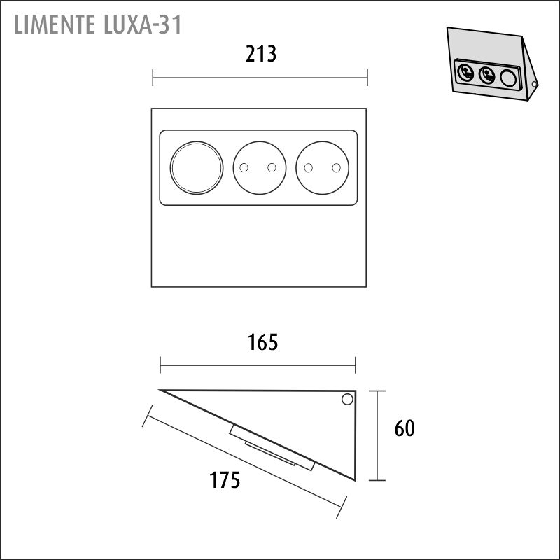 LIMENTE LUXA-31 S/S socket with switch