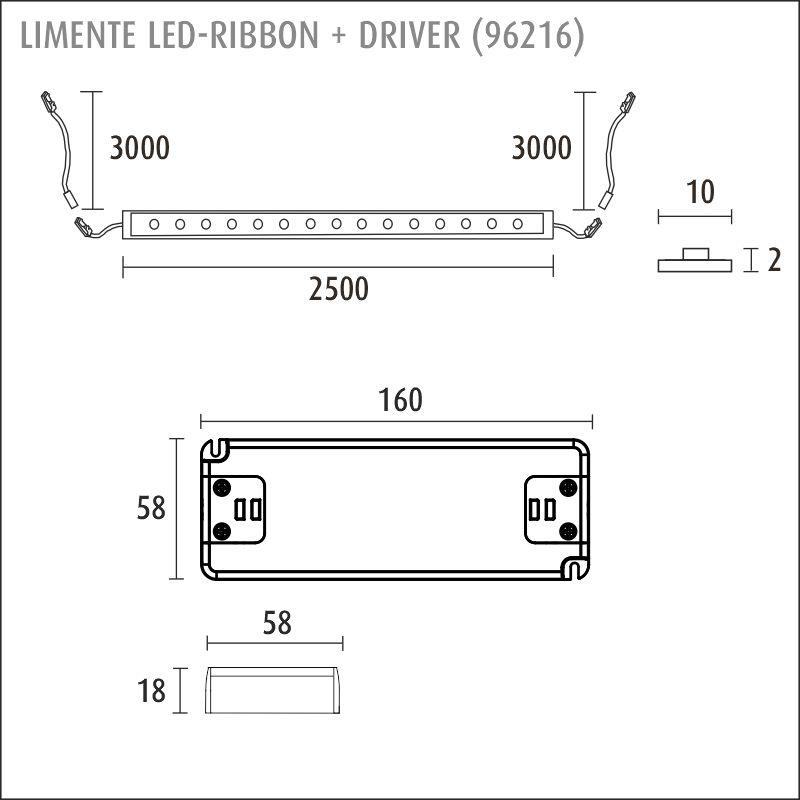 LED-RIBBON-SET IP20 2,5m + driftdon