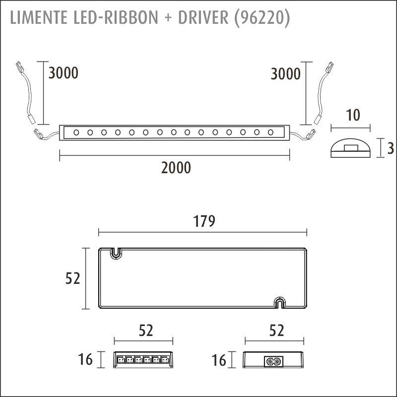 LED-RIBBON-SET 12V 2m + virtalähde