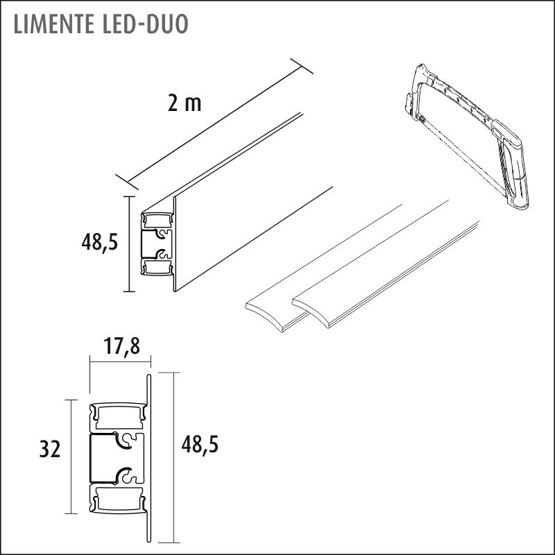 LIMENTE LINEAR, LED-DUO LUX, 3000/4000 K